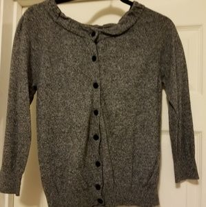 Loft Gray Cardigan Ruffled Neck